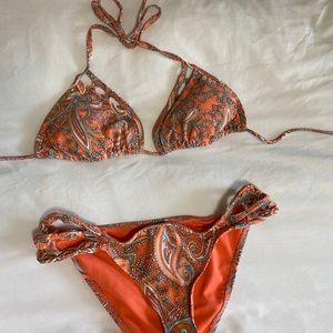 o'neill orange patterned bikini